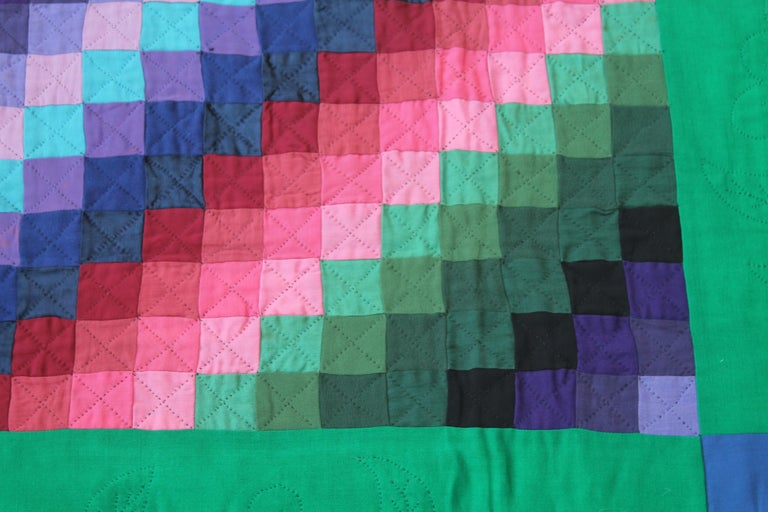 American Antique Wool Quilt, Amish Sunshine & Shadow Quilt For Sale
