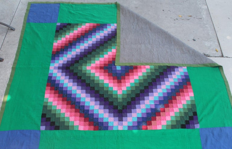 20th Century Antique Wool Quilt, Amish Sunshine & Shadow Quilt For Sale