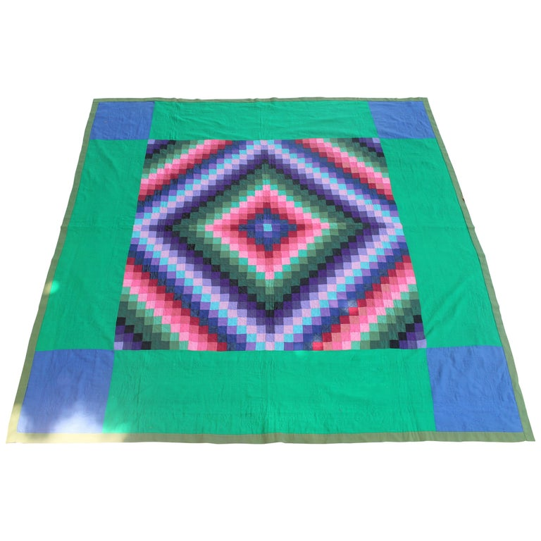 Antique Wool Quilt, Amish Sunshine & Shadow Quilt For Sale