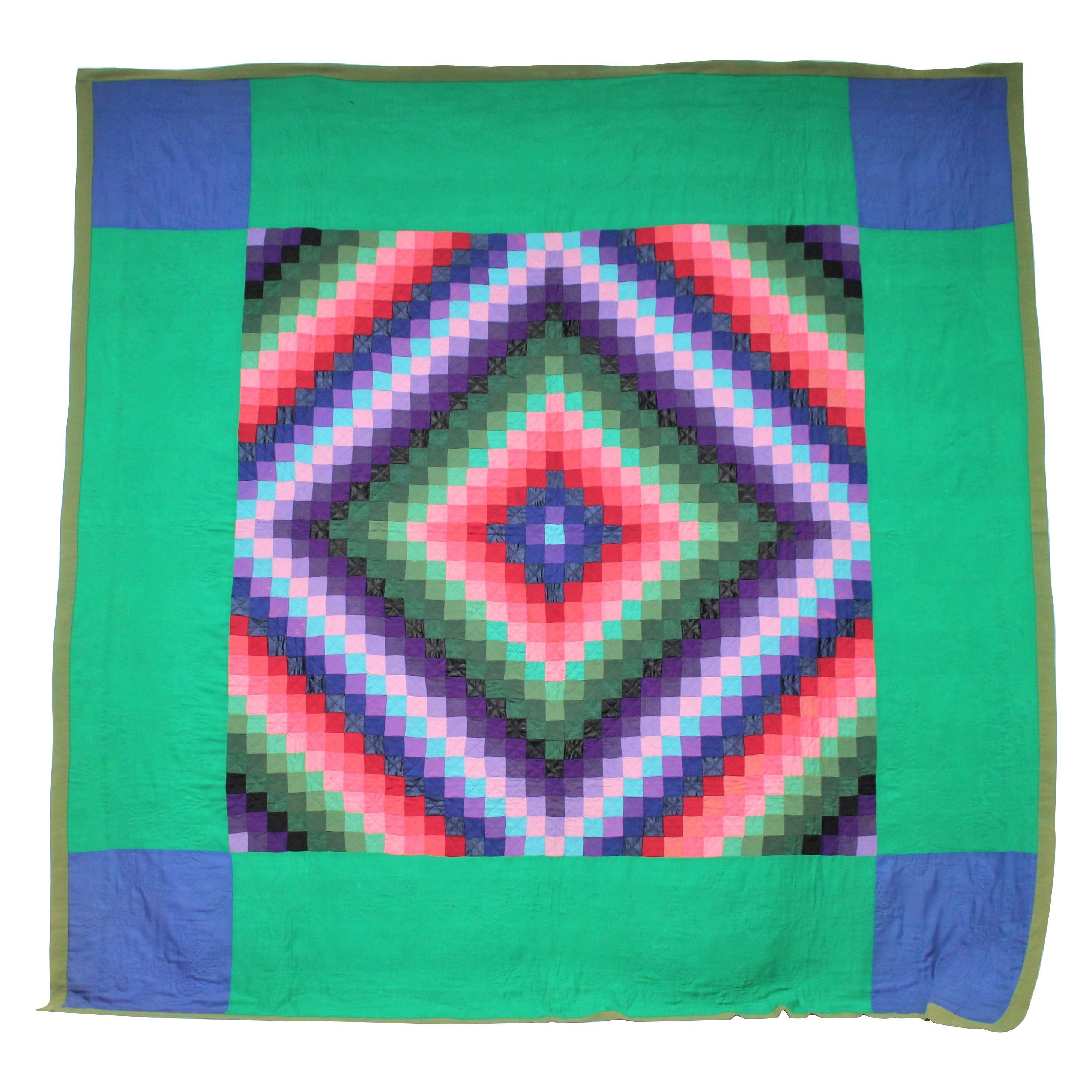 Antique Wool Quilt, Amish Sunshine & Shadow Quilt