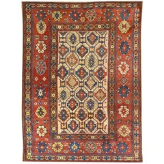 Antique Wool Rug, Geometrical and Multi-Color Design