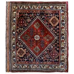 Antique Wool Saddle Bag Face, Khorjin Rug Caucasian Azerbaijan Carpet