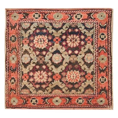 Antique Wool, Silk and Cotton Indian Agra Rug. Size: 2 ft 3 in x 2 ft 3 in