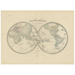 Antique World Map by Lapie, 1842