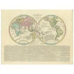 Antique World Map by Lesage, 1823