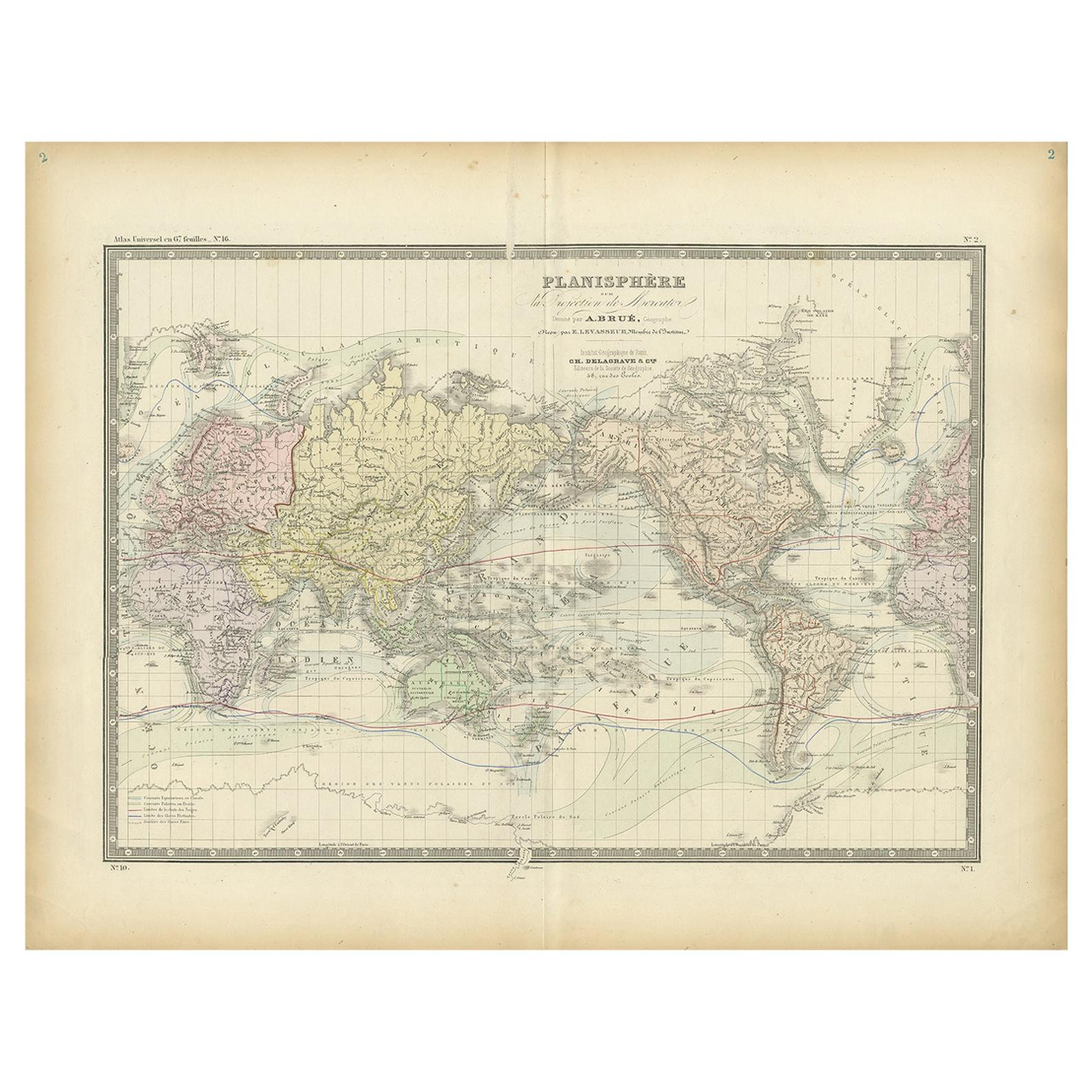 Antique World Map by Levasseur, '1875'