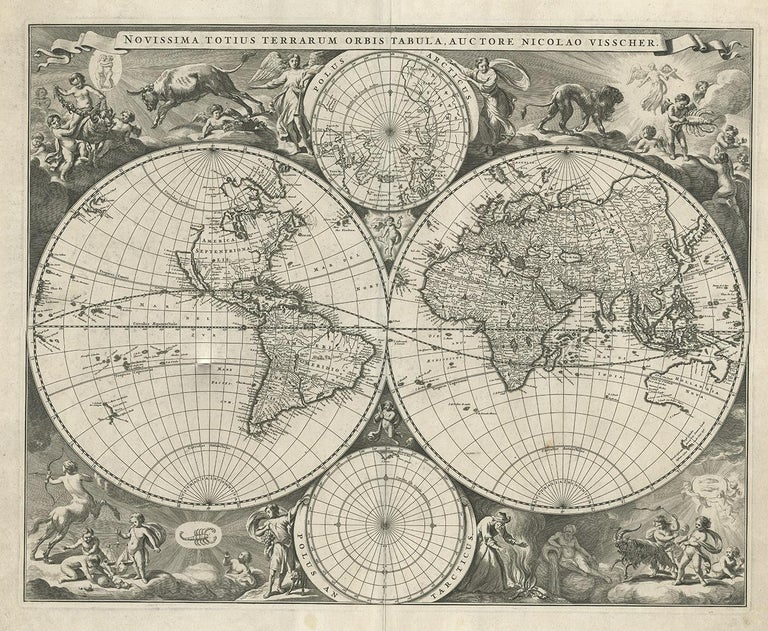 Antique map titled 'Novissima Totius Terrarum Orbis Tabula, Auctore Nicolao Visscher'. Gorgeous example of Nicholas Visscher's World map, which appeared in his Atlas Minor after 1679.  The map is similar to Visscher's World map of 1659 (Shirley