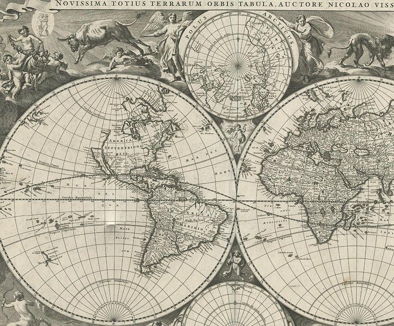 Antique World Map by N. Visscher circa 1679 In Good Condition For Sale In Langweer, NL