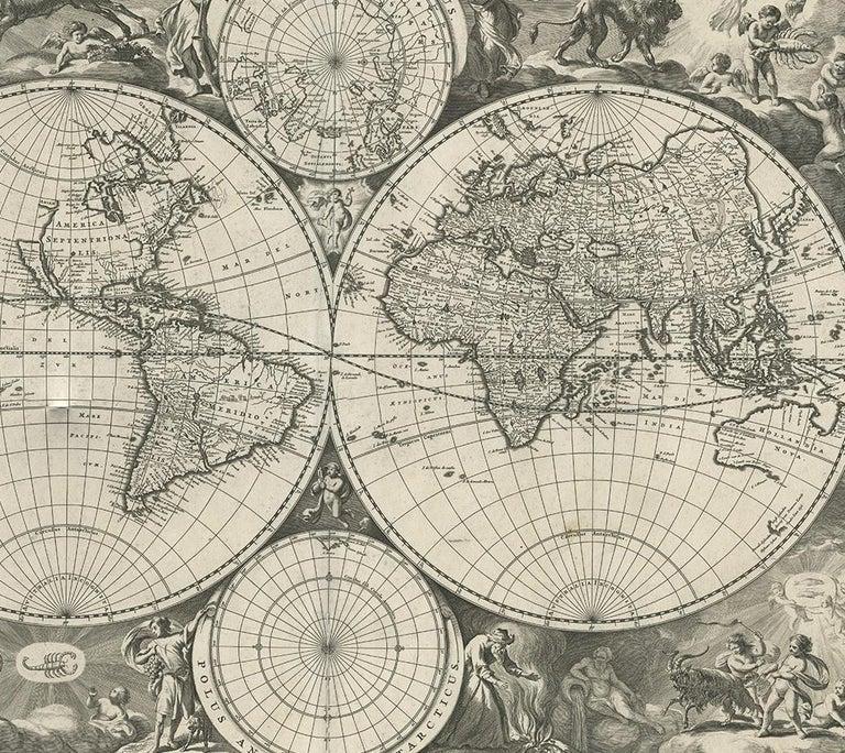 17th Century Antique World Map by N. Visscher circa 1679 For Sale