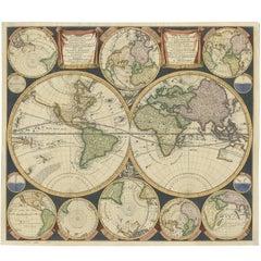 Antique World Map by P. Schenk '1706'