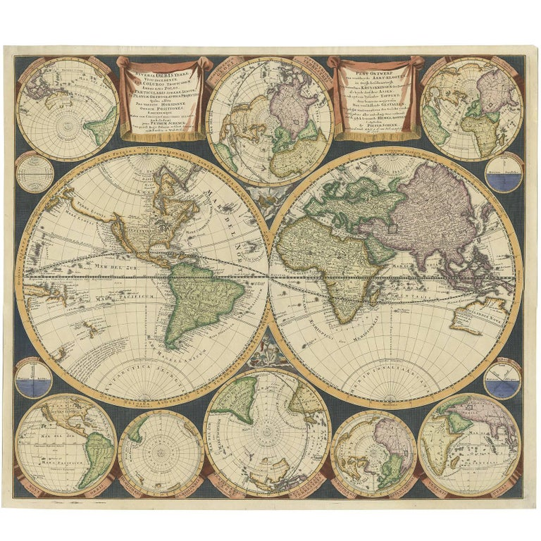 Antique World Map By P Schenk 1706 For Sale At 1stdibs