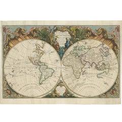 Antique World Map by R. de Vaugondy, 1743