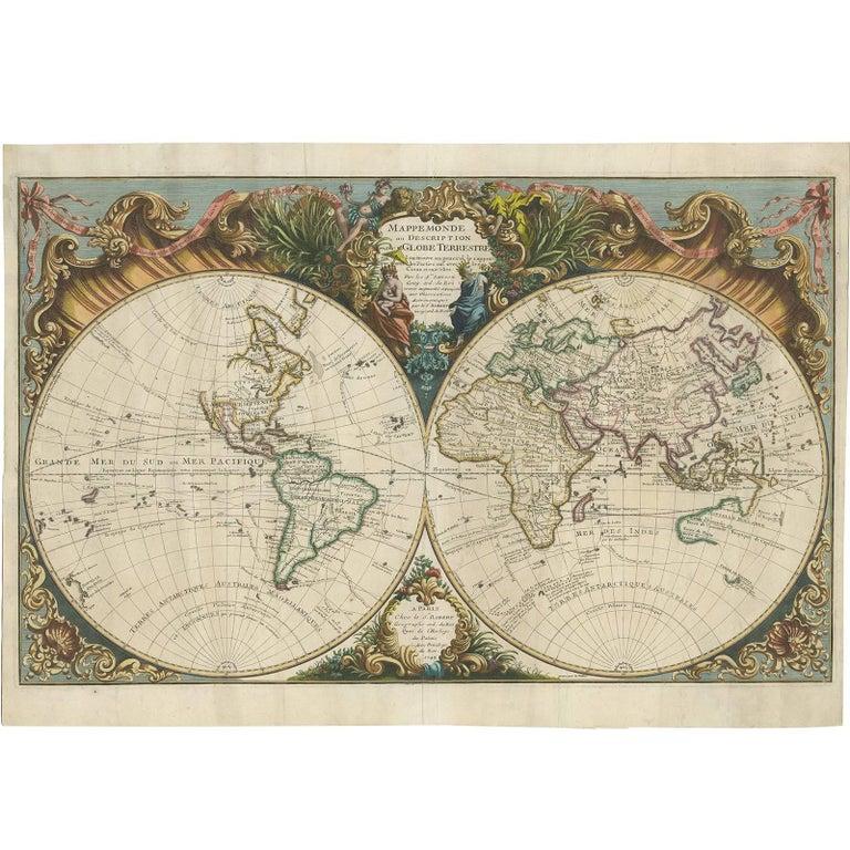 Antique World Map By R De Vaugondy 1743 For Sale At 1stdibs