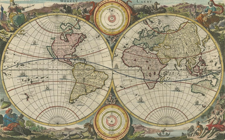 Antique map of the world titled 'Werelt Caert'. Double-hemisphere map of the world, with California an island, surrounded by pictorial engravings allegorical of the four continents, with two spheres depicting the solar system; from a Dutch bible