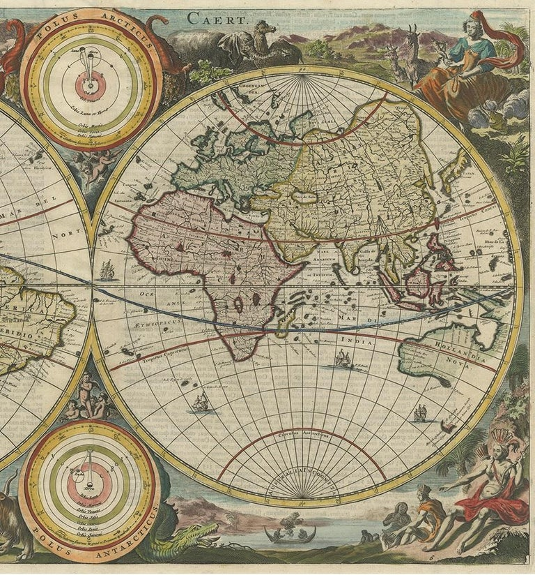 17th Century Antique World Map by Stoopendaal, circa 1680