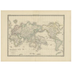 Antique World Map 'Mercator Projection' by Lapie, 1842