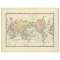 Antique World Map on Mercator Projection by Levasseur, circa 1860