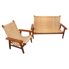 Antique Woven Bench Chair Set