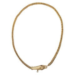 Antique Woven Gold Snake Necklace with Rubies and Diamond Drop