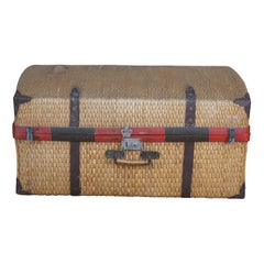 Antique Woven Rattan Bamboo Suitcase Luggage Trunk Coffee Table Boho Chic