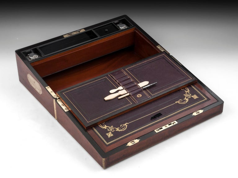 Antique Writing Box with secret compartment by Hausburg, 19th Century For Sale 5
