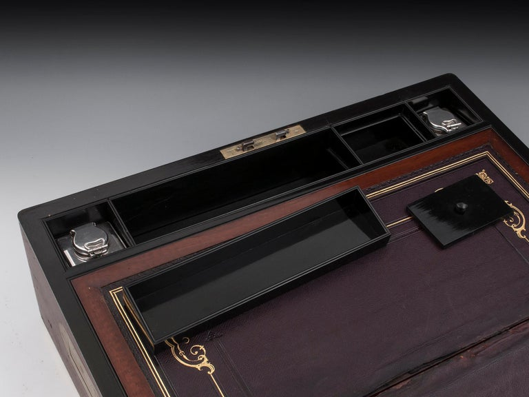 Antique Writing Box with secret compartment by Hausburg, 19th Century For Sale 8