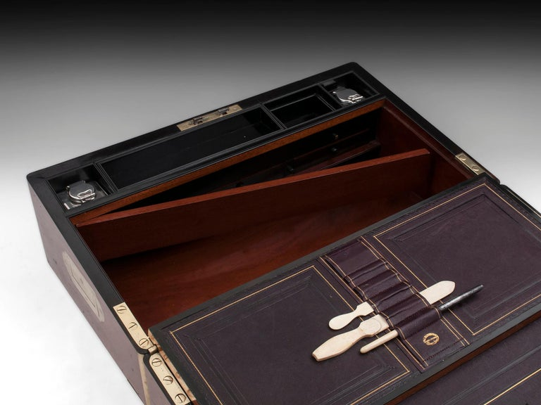 Antique Writing Box with secret compartment by Hausburg, 19th Century For Sale 9