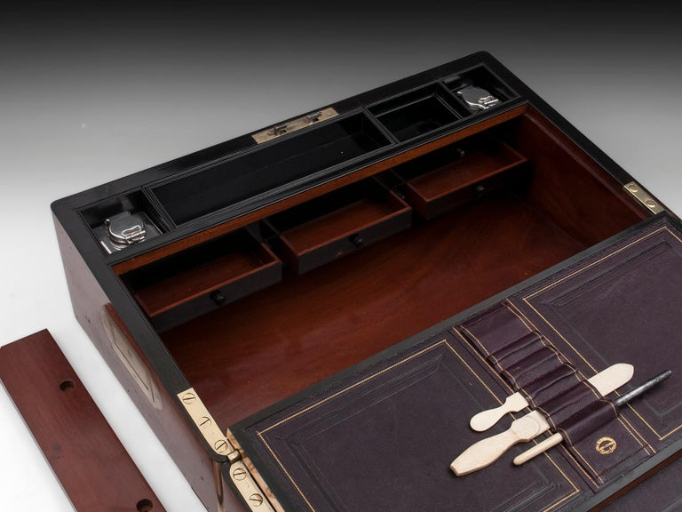 Antique Writing Box with secret compartment by Hausburg, 19th Century For Sale 10