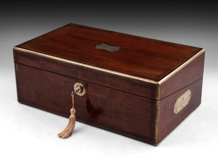 Antique Writing Box with secret compartment by Hausburg, 19th Century For Sale 11