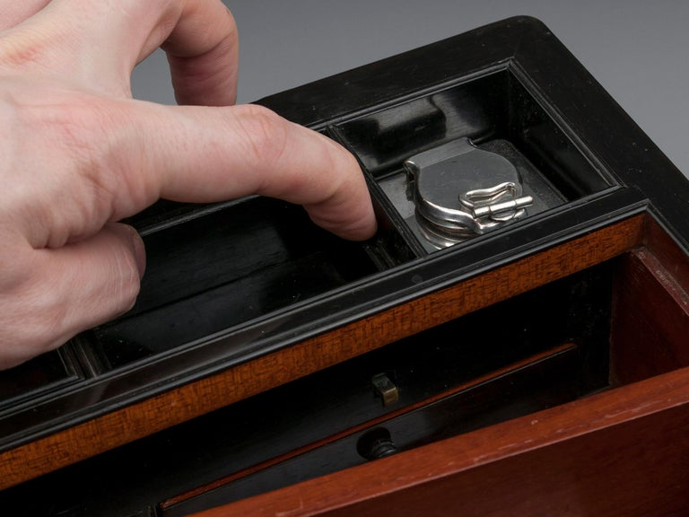 Antique Writing Box with secret compartment by Hausburg, 19th Century For Sale 12