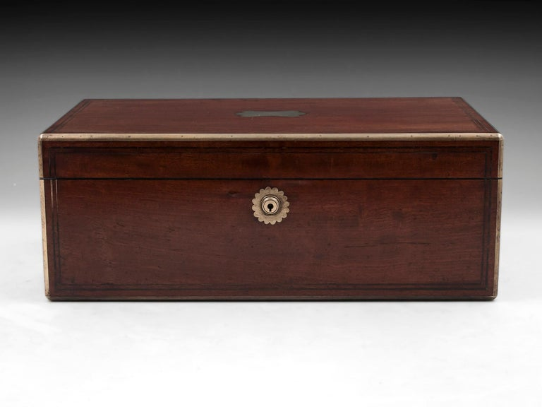 Victorian Antique Writing Box with secret compartment by Hausburg, 19th Century For Sale