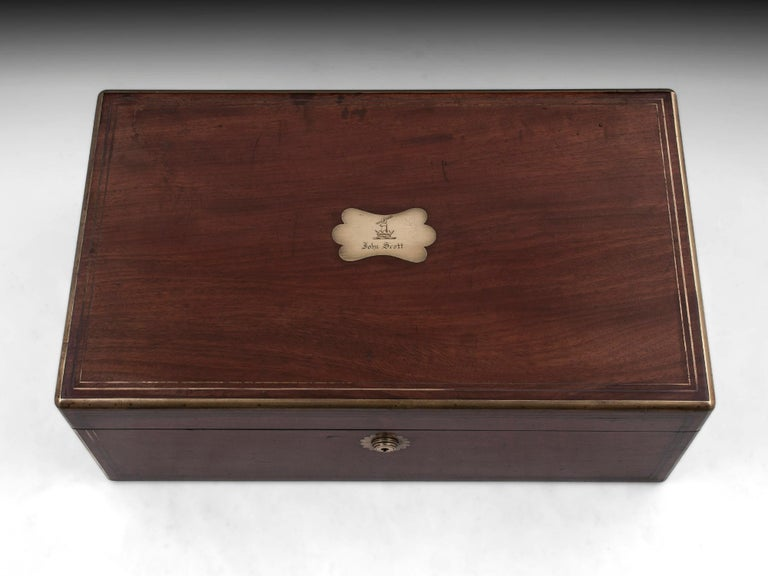 British Antique Writing Box with secret compartment by Hausburg, 19th Century For Sale
