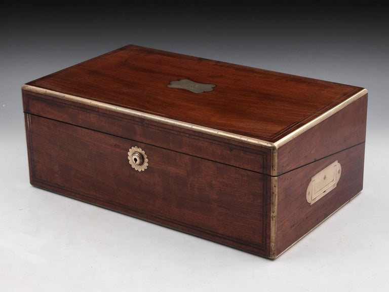 Brass Antique Writing Box with secret compartment by Hausburg, 19th Century For Sale