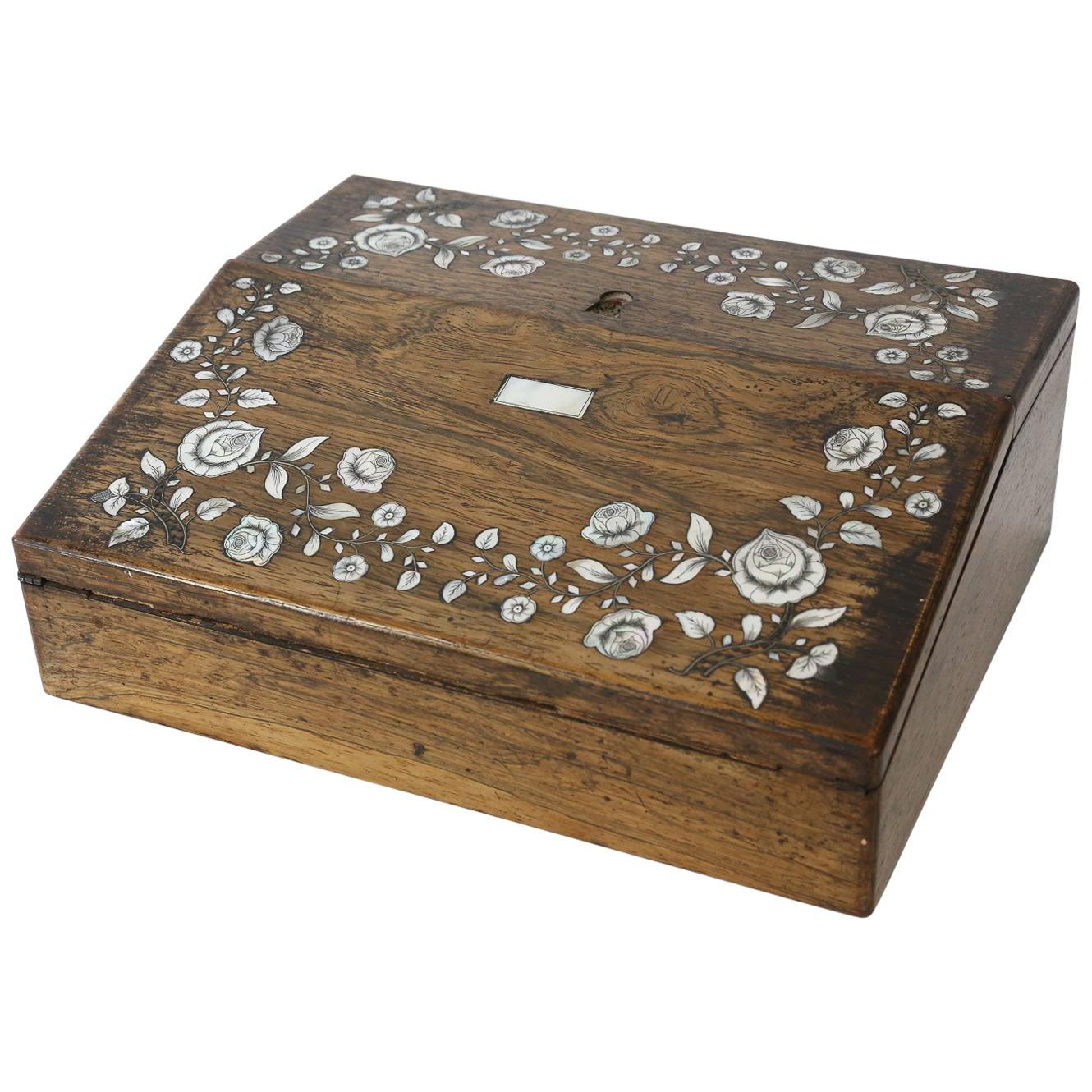 Antique Writing Box with Mother of Pearl Inlay