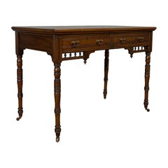 Antique Writing Desk, English, Mahogany, Leather, Side Table, Edwardian