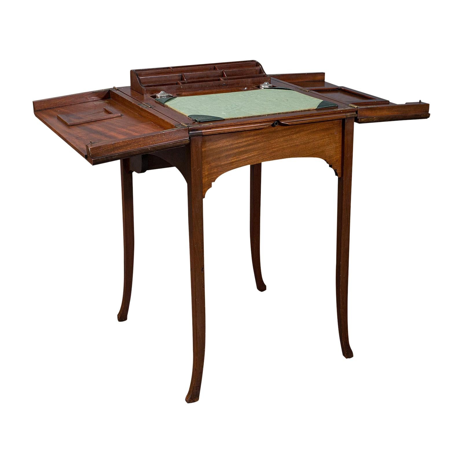 Antique Writing Desk, English, Mahogany, Side, Correspondence Table, Edwardian