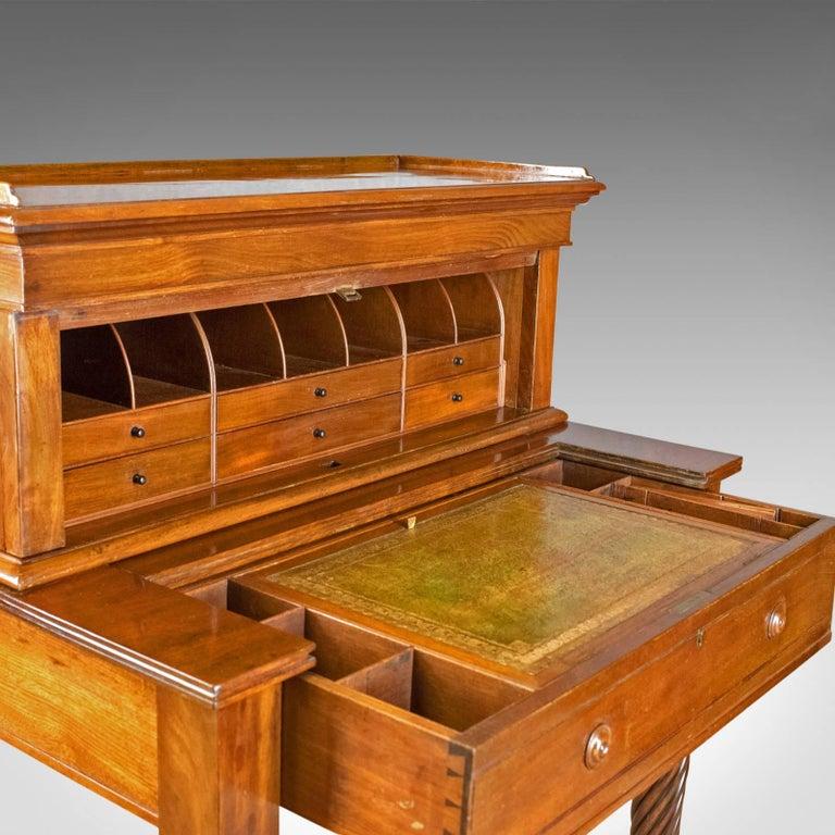 Leather Antique, Writing Desk, William iv, Bonheur Du Jour, A Solomon, circa 1835 For Sale