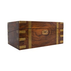 Antique Writing Slope, English, Mahogany, Brass, Correspondence Box, Victorian