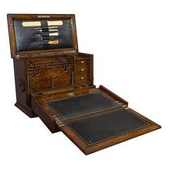 Antique Writing Slope, English, Oak, Travelling Correspondence Box, Edwardian