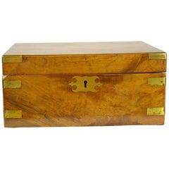Antique Writing Slope, Writing Box, Antique Lap Desk, Walnut Campaign Box, B1441