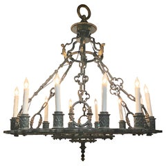 Antique Wrought Iron and Bronze Detail Chandelier, circa 1900