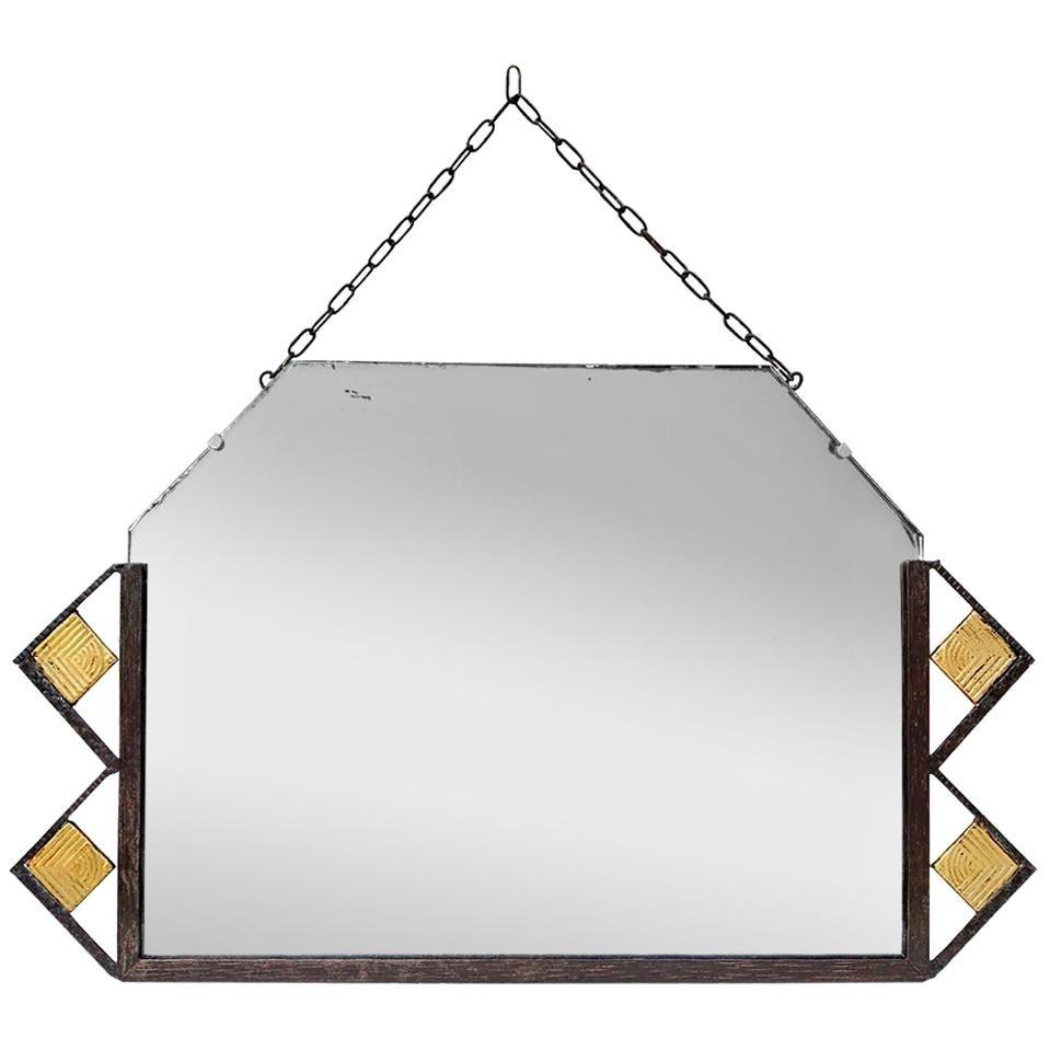 Antique Wrought Iron and Gilt Mirror, Art Deco, circa 1930