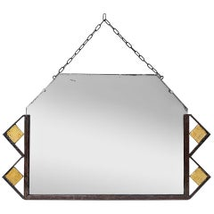 Antique Wrought Iron and Gilt Mirror, Art Deco, circa 1930