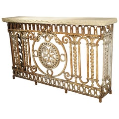 Antique Wrought Iron Balcony Gate Console Table with Limestone Top