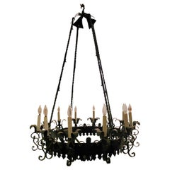 Antique Wrought Iron Chandelier, circa 1925