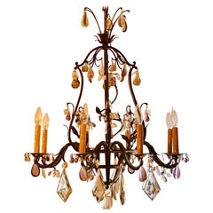 Antique Wrought Iron Chandelier with French Prisms, circa 1890-1910