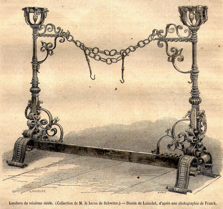 Antique Wrought Iron Fireplace Lanier For Sale 12