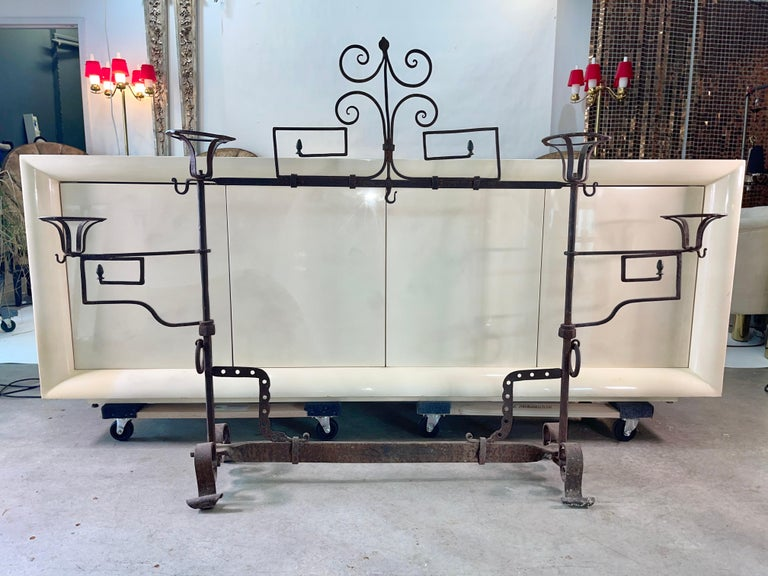 Louis XV Antique Wrought Iron Fireplace Lanier For Sale