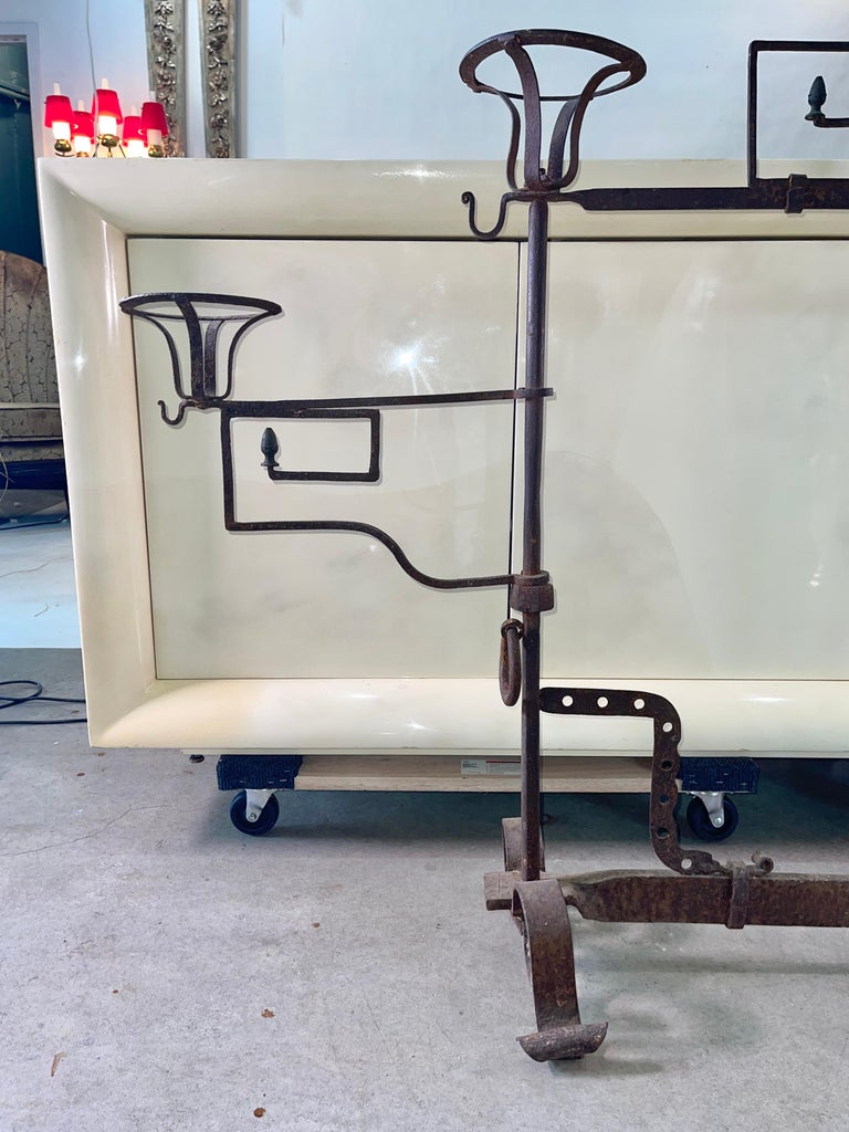 French Antique Wrought Iron Fireplace Lanier For Sale