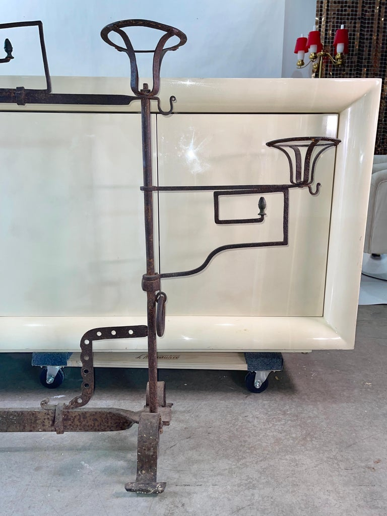 18th Century and Earlier Antique Wrought Iron Fireplace Lanier For Sale